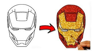 glitter Iron man coloring pages for kids   Drawing and coloring Iron man tutorial