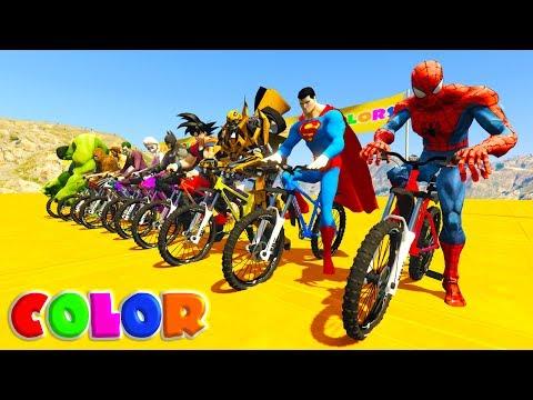 LEARN COLOR MOUNTAIN BIKE w/ Superheroes cartoon for kids and babies