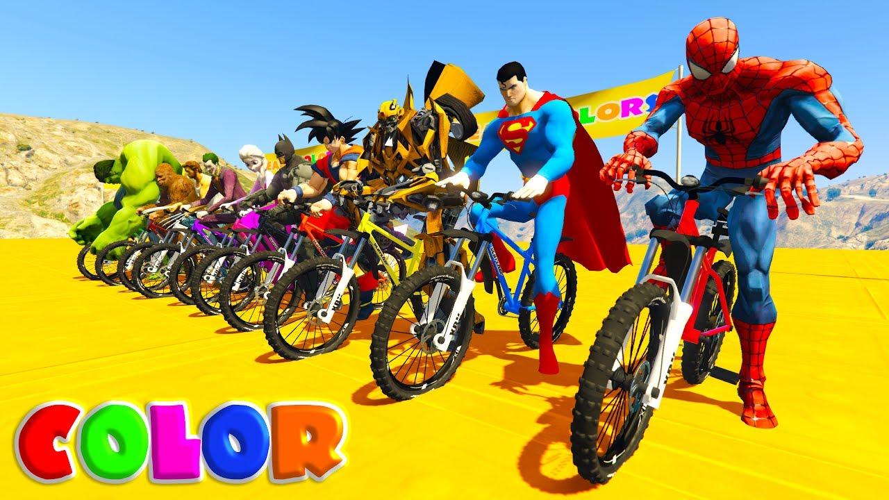 learn color mountain bike w superheroes cartoon for kids. Black Bedroom Furniture Sets. Home Design Ideas