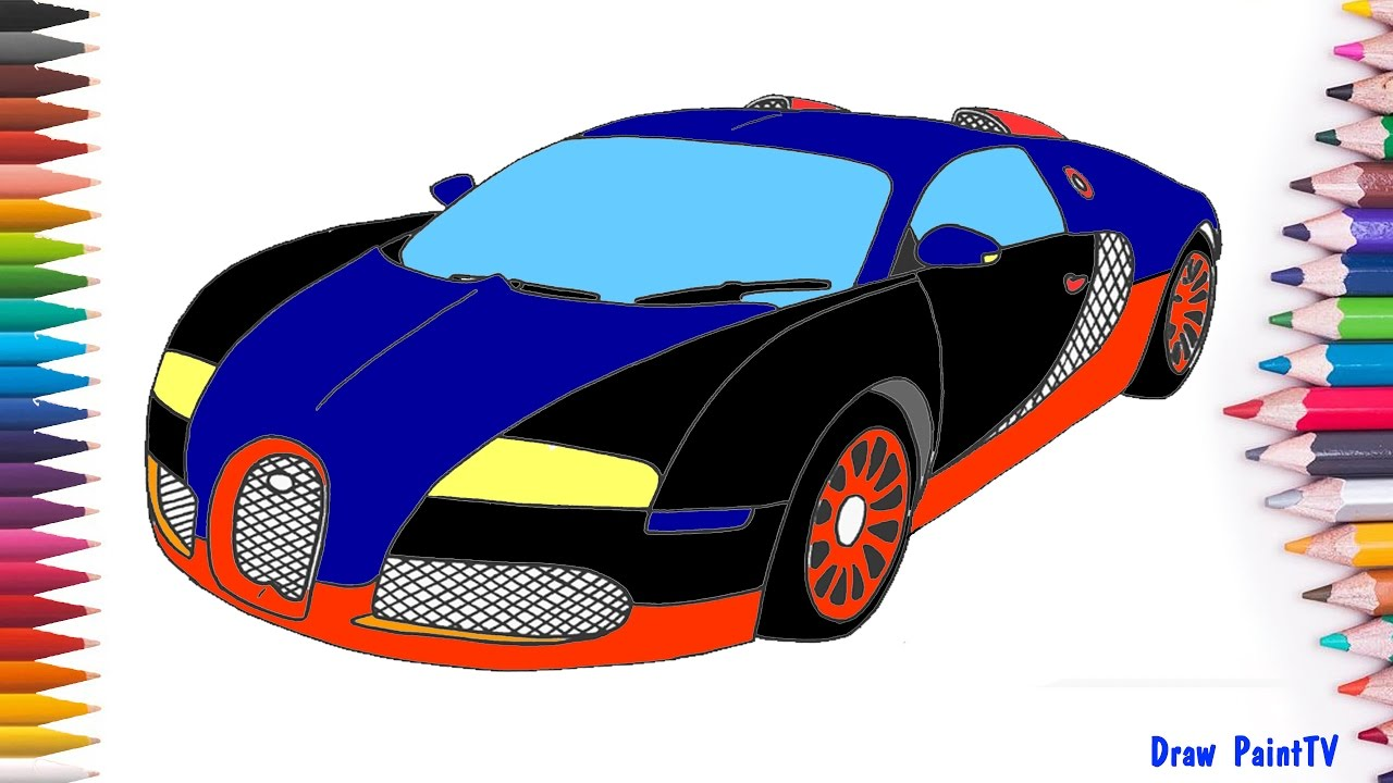 bugatti veyron super sport car coloring page kids paint car