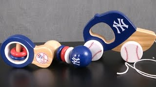 Yankees Baby Rattle Set & Push & Pull Toy from Masterpieces Puzzle Co.