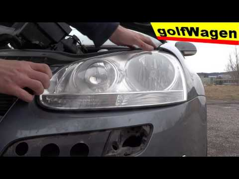 VW Golf 5, how to replace front light lamp headlights
