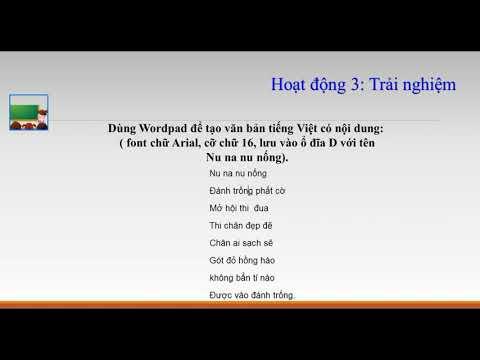 Môn tin học lớp 2 - Chủ đề 23 - Phần mềm wordpad