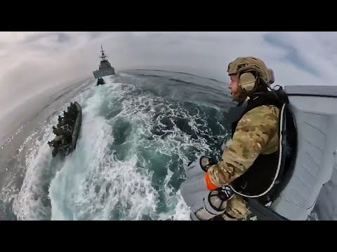 Royal Marines test out jet suit over water for Maritime Boarding Operation
