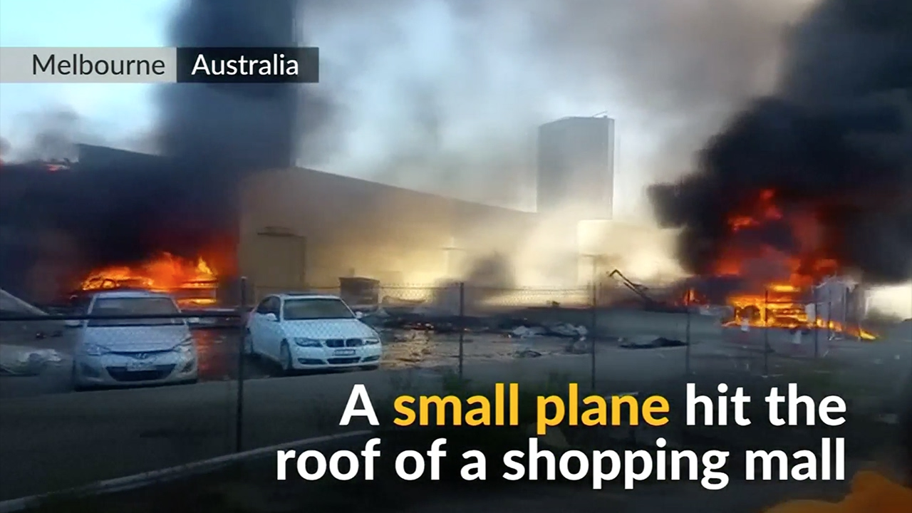 Dramatic footage of light plane crash aftermath in Australia