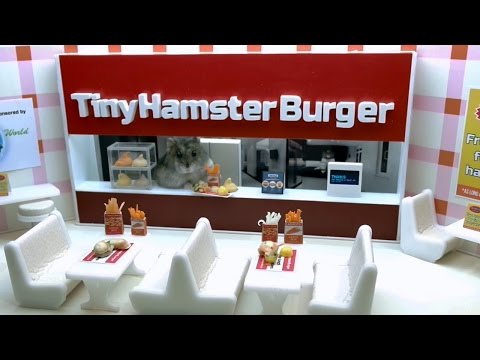Tiny hamster eating tiny fast food