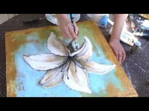 Acrylic Abstract Painting Demonstration Flowers Acrylic