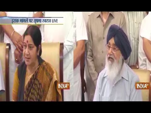 Live: Sushma Swaraj,Prakash Singh badal addressing Media persons on Iraq crisis