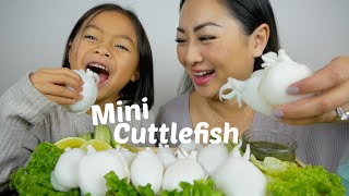 Mini Cuttlefish with Spicy Green Seafood Sauce Mukbang | N.E Let's Eat
