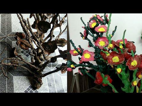 DIY Home decor idea with coconut tree branches / coconut cap decor idea.