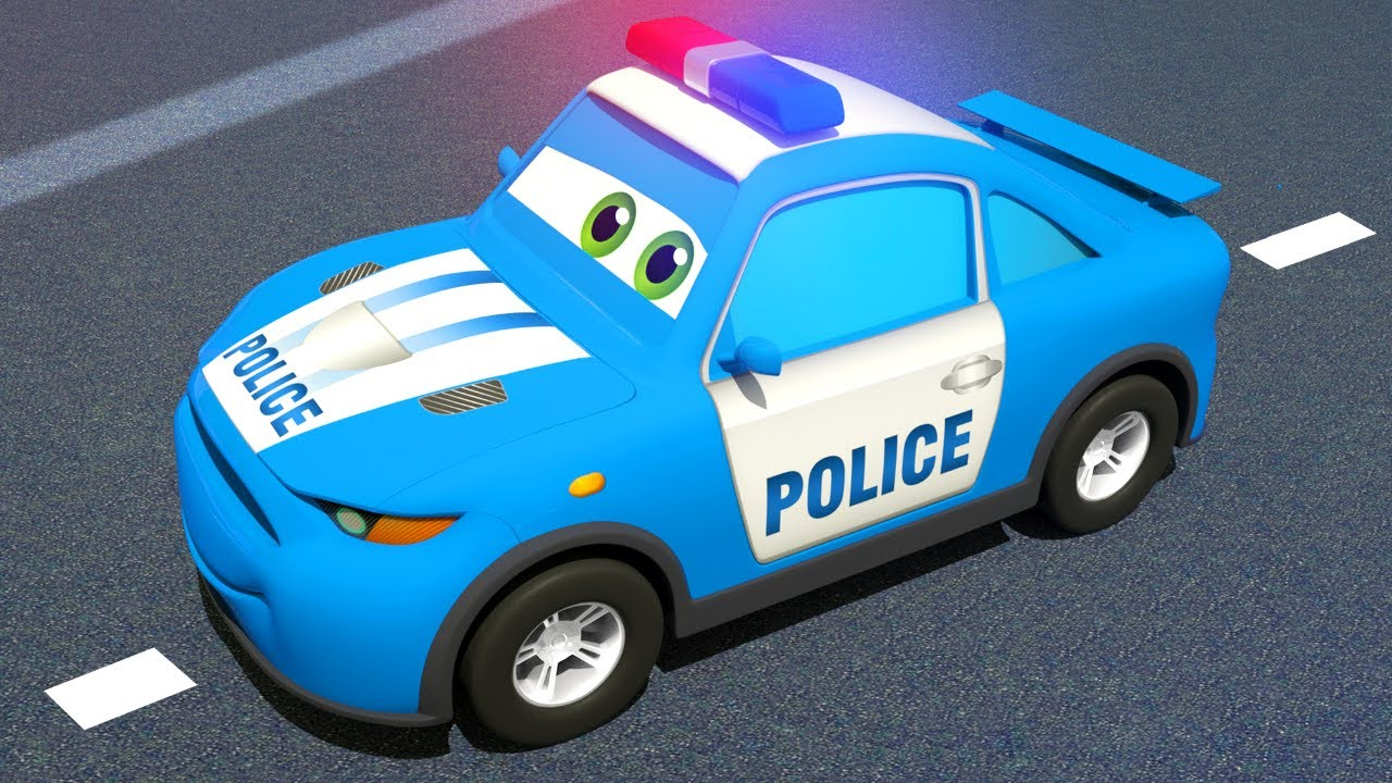 Blue Police Car & Race Cars - Magic Hat   Motorville - 3D Cars Cartoon for Kids