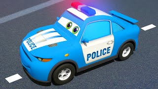 Blue Police Car & Race Cars - Magic Hat | Motorville - 3D Cars Cartoon for Kids