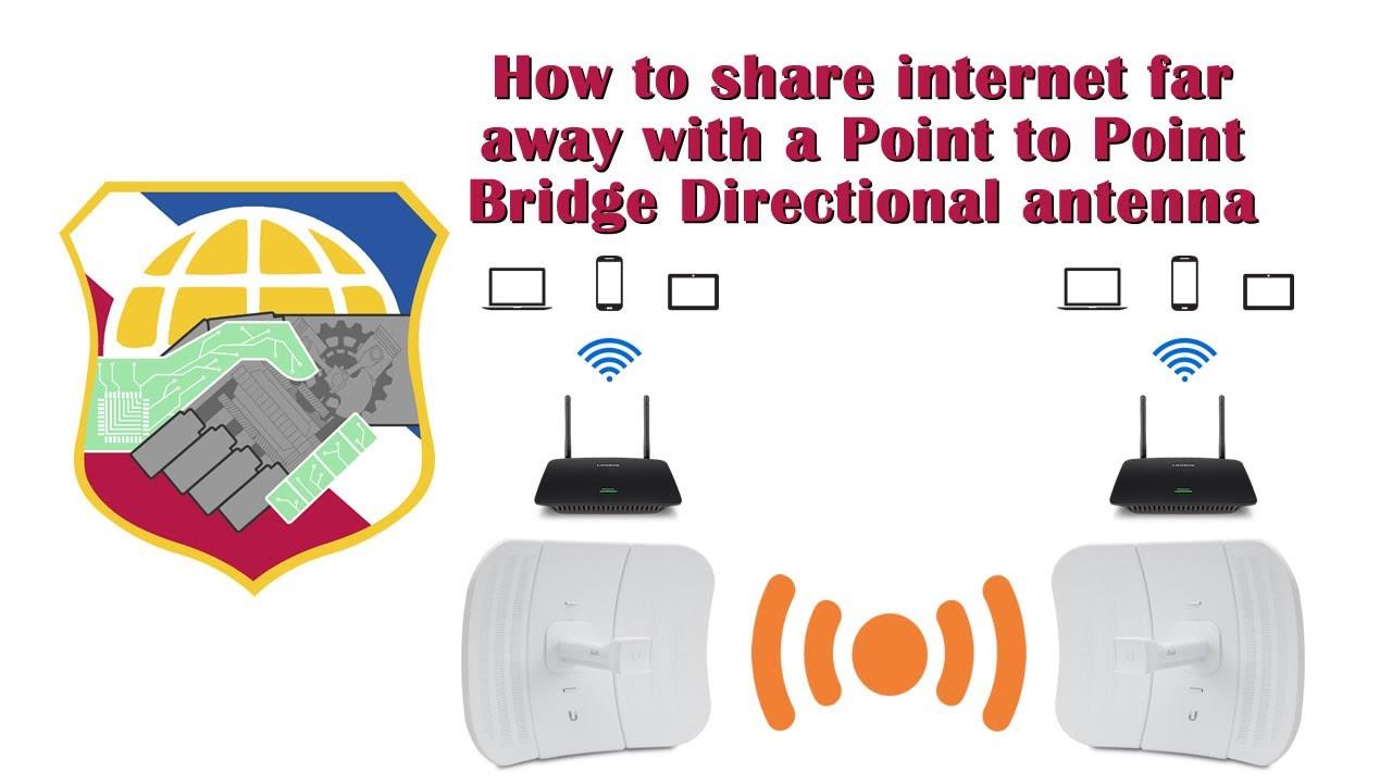 How to share internet far away with a P2P Bridge Directional antenna -  ubiquiti litebeam M5 point