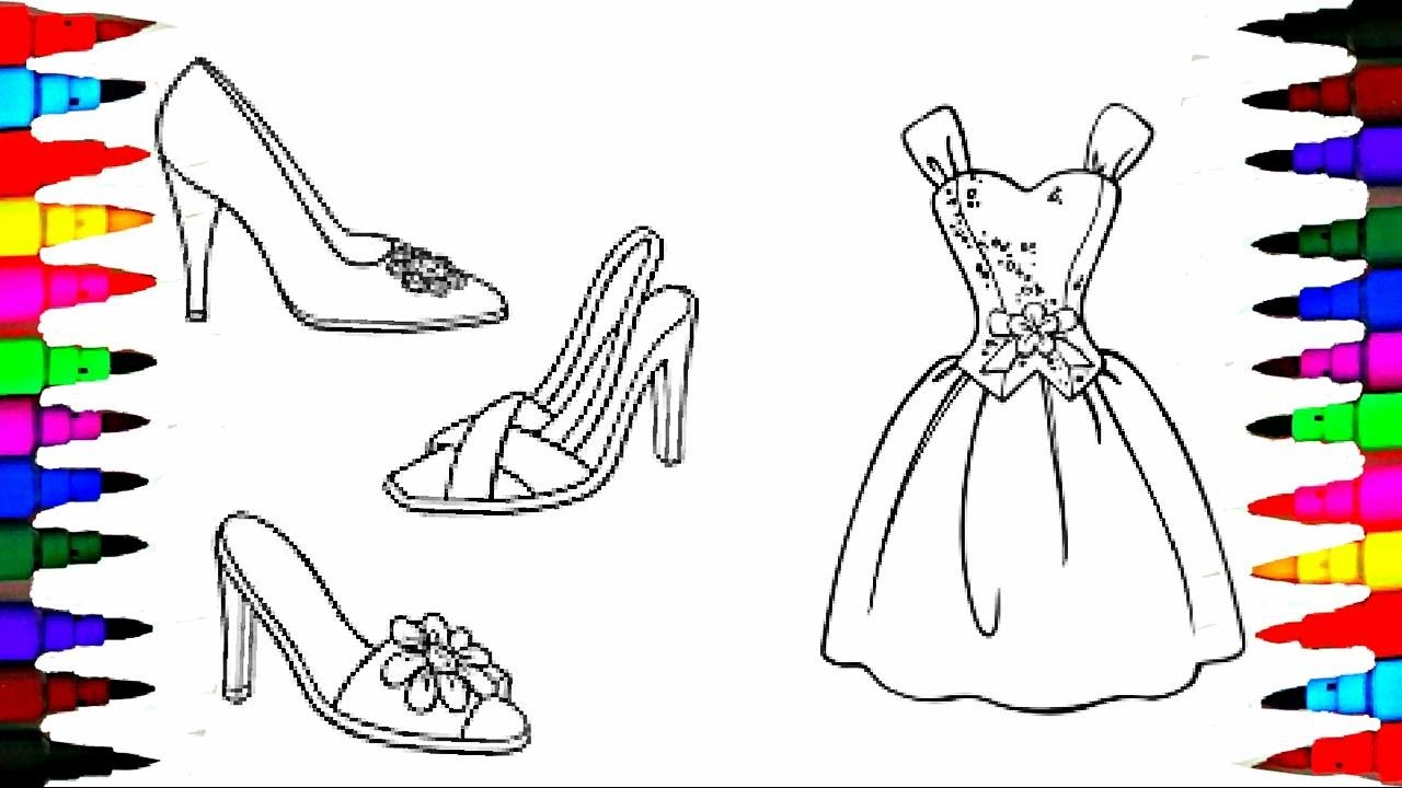 coloring pages barbie dress and shoes coloring book videos for