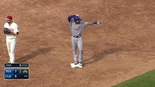 TEX CLE Andrus Smokes A Two Run Double Down The Line