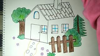 Drawing And Coloring Of Courtyard House Step By Step