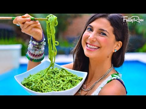 FullyRaw Pasta with Avocado Basil Pesto!