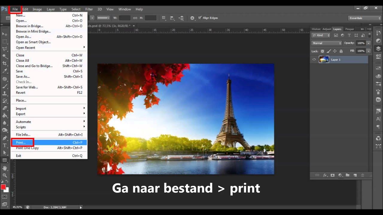 photoshop tutorial opslaan als/printen naar: PDF, JPEG,PNG - YouTube