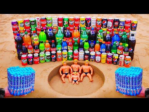 Stretch Armstrong vs Fanta, Coca Cola, Nestea, Mtn Dew, Pepsi, Popular Sodas vs Mentos Underground