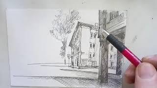 Рисунок городского пейзажа (скетч). Онлайн рисование