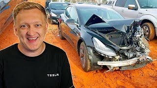 Зачем Америка убивает Теслы ??? Разбили Теслу модель 3 | Tesla Model 3 Perfomance Crash Test