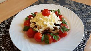 Салат с ветчиной грибами и сыром Рецепт вкусного салата на праздник