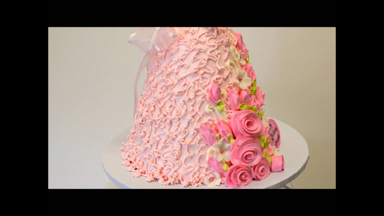 Barbie shaped cake covered in butter cream pink barbie youtube izmirmasajfo