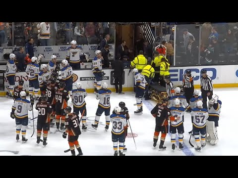 Jay Bouwmeester Collapses on the Bench (Dual-Feed)