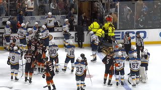 Jay Bouwmeester Collapses on the Bench ...
