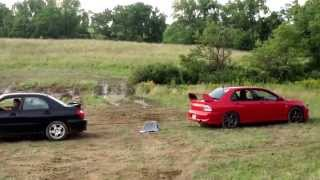 Evo vs Subaru 2.5 RS tug o war round 1!