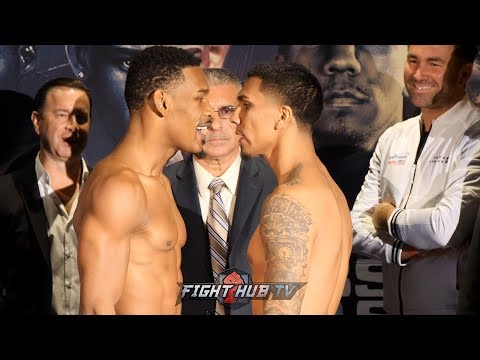 HEATED BACK & FORTH! DANIEL JACOBS VS LUIS ARIAS FULL WEIGH IN & FACE OFF VIDEO