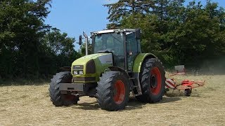 Hay Farming in Wales, UK - Featuring Claas Ares 938RZ, New Holland TS100 & Ford 5610