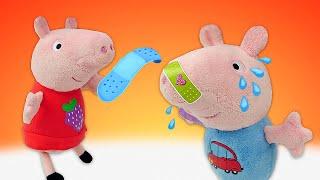 Плюшики Свинка Пеппа иДжордж одни дома— Джордж ушиб свой пятачок! —Мягкие игрушки для детей