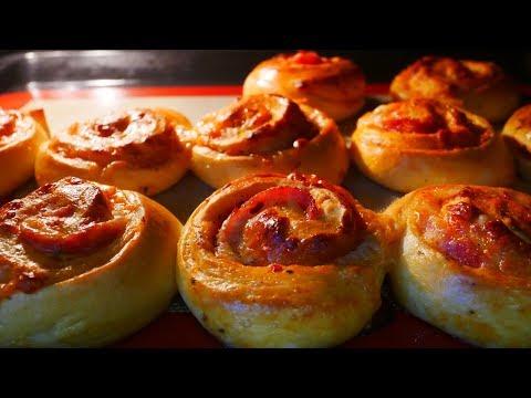 Булочки улитки с колбасой на завтрак на природу Закусочные булочки домашние Выпечка рецепты