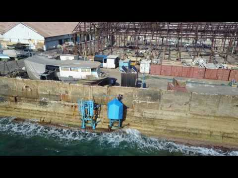 Eco Wave Power: Wave Energy Power Station in Jaffa Port from drone