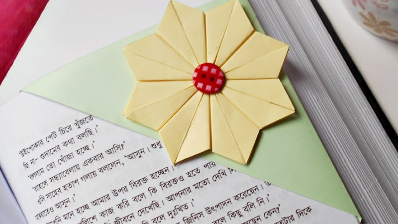 How To Make Origami Flower Corner Bookmark Origami Tutorial Lets