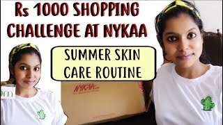 Nykaa Rs 1000 Shopping Challenge - Summer Oily/Acne Skin care at Nykaa App under 1000 Rs | AdityIyer
