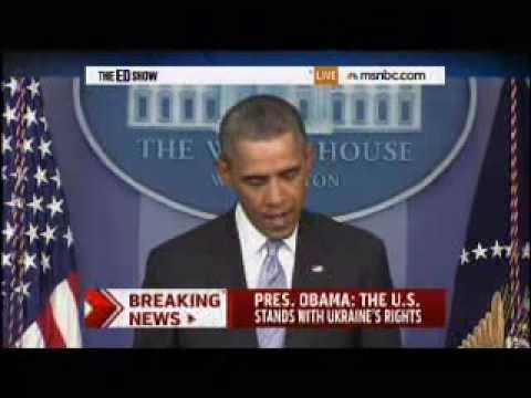 President Obama Statement on Crisis in Ukraine 2/28/2014 - MSNBC Coverage