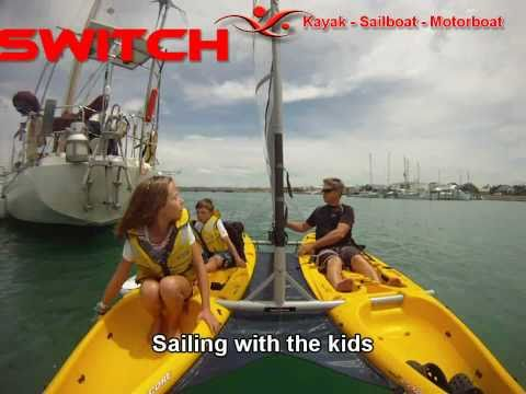 Switch - catamaran sailing kayaks: www.switchsports.co.nz  - Switch is a catamaran sailboat. it has an advantage over a Hobie adventure Islander in that it can be converted into a small motorboat (either electric drive or petrol outboard) or two seperate kayaks. it all fits on your roof rack.