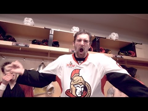 Game 1: Sens vs Penguins - Locker Room Celebration