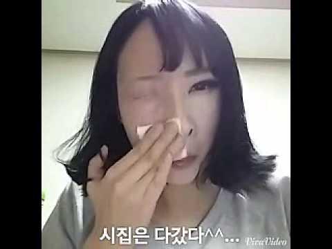 韩国正妹惊人卸妆术,擦一擦眼睛不见了!