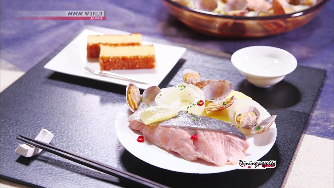Photo of Chef Rika's Sake-steamed Salmon, Potatoes, and Clams [Japanese Cooking] – Dining with the Chef – video