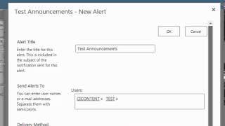 How to create and modify User Alerts (Sharepoint 2013)