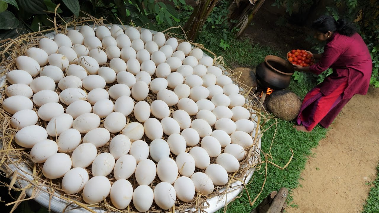 Egg recipe in my village ❤ She is cooking fried egg Masala curry with firewood
