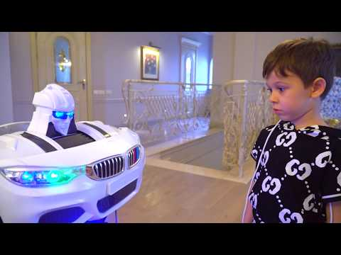 Funny Tema Superhero Pretend Play with Toys and Power Wheels Robot car