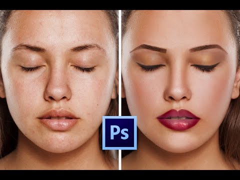 Photoshop CC Tutorial: How to retouching Skin & make makeup Easily