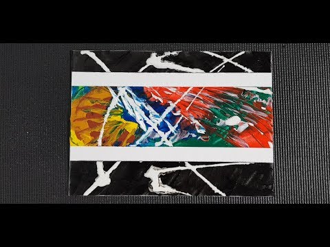 Abstract Painting With Masking Tape Using A Palette Knife