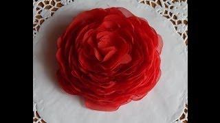 Цветы из ткани.Как сделать розу из шифона.Rose Fabric