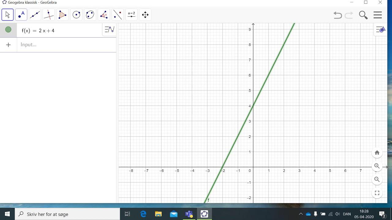Sådan tegner du en graf i Geogebra