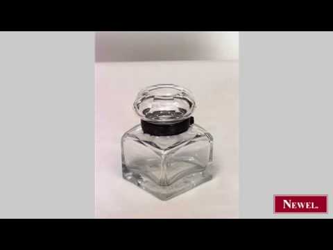 Antique American Victorian square crystal inkwell with